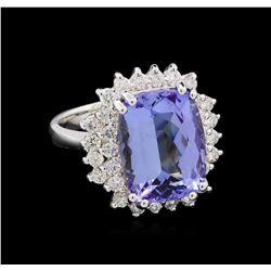 8.62 ctw Tanzanite and Diamond Ring - 14KT White Gold