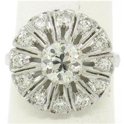Antique Art Deco Platinum 1.37 ctw European Diamond Open Platter Ring