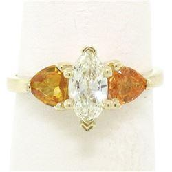 14kt Yellow Gold 1.62 ctw Diamond and Yellow Sapphire 3 Stone Ring