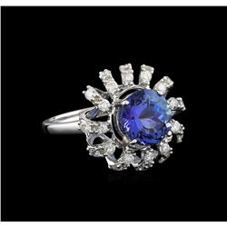 14KT White Gold 3.36 ctw Tanzanite and Diamond Ring