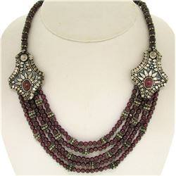 ".950 Sterling Silver 17"" Strung Multi Strand 230 Garnet Bead Necklace"