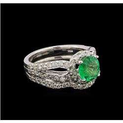14KT White Gold 1.43 ctw Emerald and Diamond Wedding Ring Set