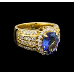14KT Yellow Gold 3.29 ctw Tanzanite and Diamond Ring