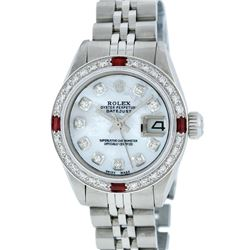 Rolex Ladies Stainless Steel MOP Diamond & Ruby 26MM Oyster Perpetual Datejust W