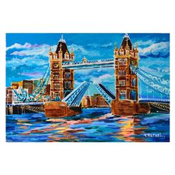 "Yana Rafael, ""London Drawbridge"" Hand Signed Original Painting on Canvas with CO"