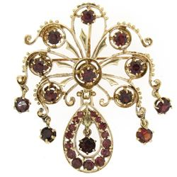 Vintage 14k Yellow Gold 6.75 ctw Round Garnet Open Work Dangle Pin Brooch Pendan
