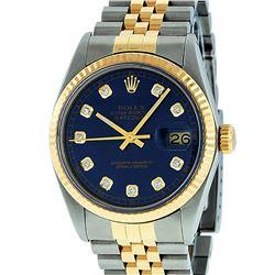 Rolex Mens 2 Tone Blue Diamond 36MM Oyster Perpetual Datejust Wristwatch