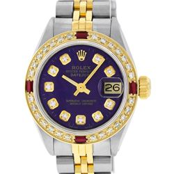 Rolex Ladies 2 Tone YG/SS Purple Diamond & Ruby Oyster Perpetaul Datejust Wristw