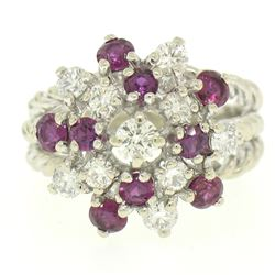 14K White Gold 2.10 ctw Diamond & Ruby Cluster Daisy Twisted Wire Cocktail Ring