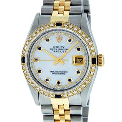 Rolex Mens 2 Tone Mother Of Pearl Diamond & Sapphire Datejust Wristwatch