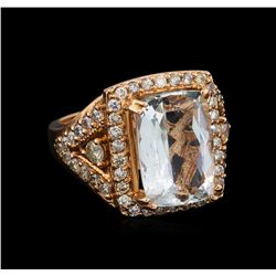 14KT Rose Gold 7.96 ctw Aquamarine and Diamond Ring