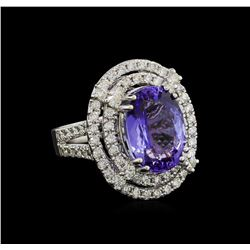 9.81 ctw Tanzanite and Diamond Ring - 14KT White Gold