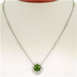 "18K White Gold 16"" 3.12 ctw F VS Diamond Cushion Peridot Flower Cluster Necklace"