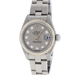 Rolex Ladies Stainless Steel Slate Grey Diamond Quickset Datejust Oyster Band Wr