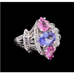 4.36 ctw Multi Gemstone and Diamond Ring - 14KT White Gold