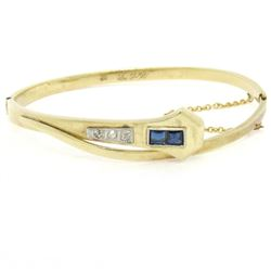 Antique Art Deco 14k Yellow Gold and Platinum Sapphire and Diamond Snake Bangle
