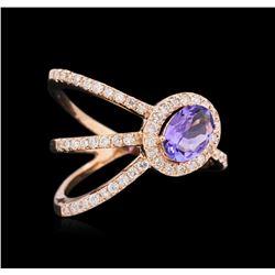 0.72 ctw Tanzanite and Diamond Ring - 14KT Rose Gold
