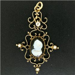 Antique Victorian 14kt Yellow Gold Cameo and Diamond Open Work Locket Pendant