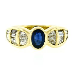 Trevi 18kt Yellow Gold 1.90 ctw Oval Sapphire & Baguette Diamond Ring