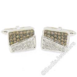 18kt White Gold 1.45 ctw Pave Set Round White & Champagne Diamond Rectangular Cu
