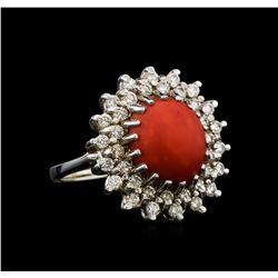 14KT White Gold 3.85 ctw Agate and Diamond Ring