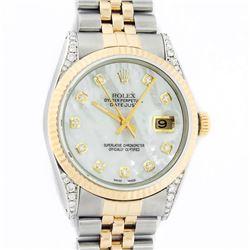 Rolex Mens 2 Tone MOP Diamond Lugs 36MM Datejust Wristwatch
