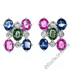 18kt White Gold 3.86 ctw Oval Sapphire and Round Diamond Stud Earrings