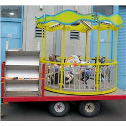 5-Horse Trailer Mounted Carousel Merry-Go-Round Ride