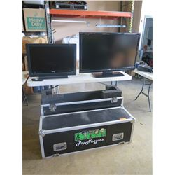 Qty 2 Television with Qty 1 TV Road case