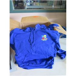 Qty 10 - Asst sizes, Royal Blue Hoodies (most blank)