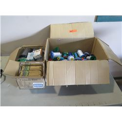 Mixed Lot - Asst. colors Embroidery Thread, R/W new DVDs, Box of Small Bamboo Cutting Board