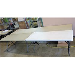 Qty 4 - 6' White/Beige Plastic Tables