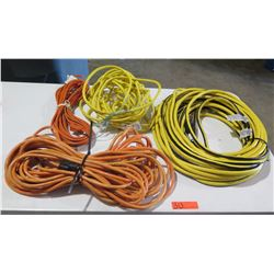 Mix lot of Extension Cords  1- 100' 10 guage cord, 2-12 guage cords and one 14 guage cord.