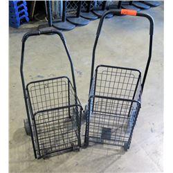 Qty 2 - Folding Shopping cart on wheels