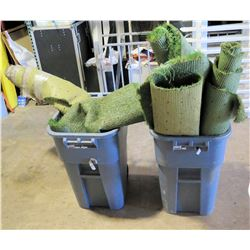 Qty 2 - trash cans with astro turf remenants
