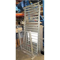 Heavy metal fencing with gate.   Extra fencing