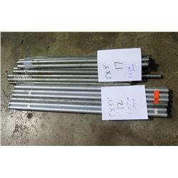 """Qty 12 - Galvanized 1""""x3.3"""" Poles/ Qty 17 - 1""""x3' Galvanized Poles"""