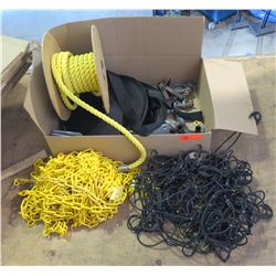 Misc items: Rope, Yellow plastic chain, Truck cover, webbing