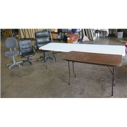 Qty 1 - 8' folding table, Qty 1 - 4 foot brown table, Qty - 3 office chairs