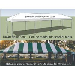 Qty 1 - 40' L x10' W green and white frame tent.   Can be configured to different lengths.  Comes wi