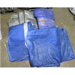 Mixed Lot - Blue Tarps and Gray Tarps (for EZ Corner Tent)