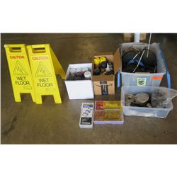 """Mixed Lot of Misc items.   Caution Signs, paints and lots of 2"""" webbing"""