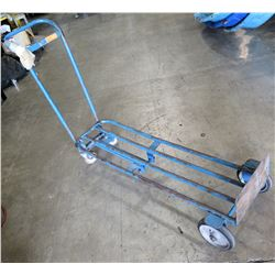 Heavy duty hand truck four wheel multi position.  Flat bed or stand up hand truck.   Great hand Truc