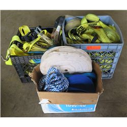 """Large lot of 2"""" Ratchet straps.   Various sizes.  Misc. Rope and webbing."""