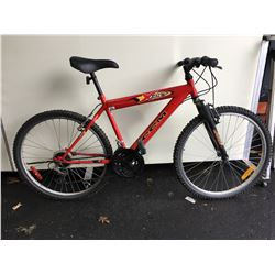 2 BIKES - RED CCM 18 - SPEED FRONT SUSPENSION MOUNTAIN BIKE, BLUE RALEIGH 21 - SPEED FRONT