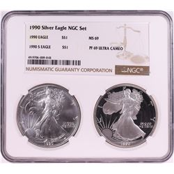1990 $1 American Silver Eagle Coin Set NGC MS69/PF69 Ultra Cameo