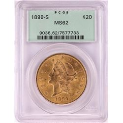 1899-S $20 Liberty Head Double Eagle Gold Coin PCGS MS62 Old Green Holder