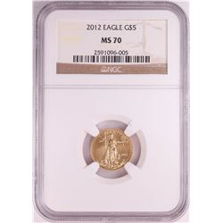 2012 $5 American Gold Eagle Coin NGC MS70