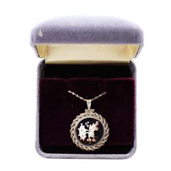 1987 Disney Rope Frame Pendant & Chain Steamboat Willie 1/10 oz .999 Fine Silver Medal