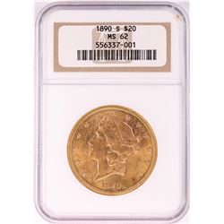 1890-S $20 Liberty Head Double Eagle Gold Coin NGC MS62